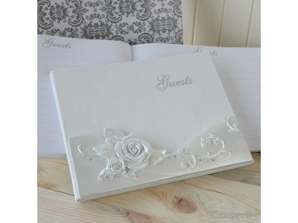 Detalle de boda libro de firmas Flor Rosa