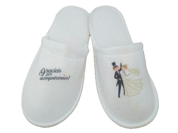 Zapatillas algodón para bodas (NO INCLUYE DIBUJO NI GRABACIÓN)