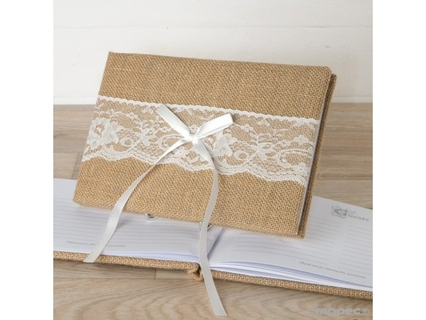 Libro firmas yute y puntilla en caja regalo 25X16cm