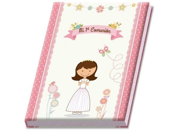 Libro albúm comunión niña en caja regalo ROSA