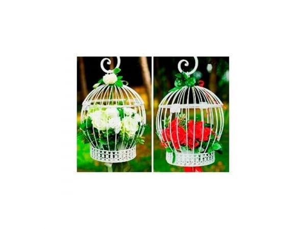 Detalle de boda jaula decorativa blanca o negra