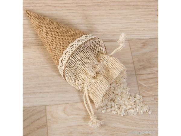 Cono-bolsa de yute 15cm