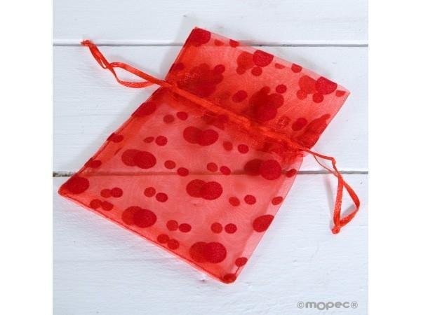 Bolsa topos roja 14x10cm