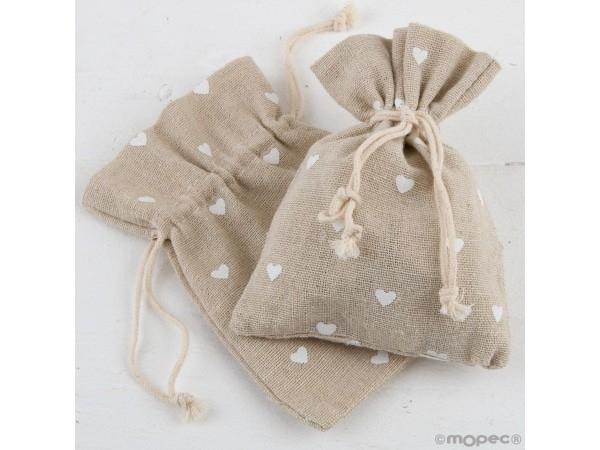Bolsa beige con corazones blancos de 10x13cm. min.12