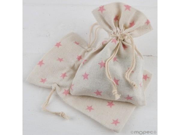 Bolsa algodón estrellas rosas 10 x 14 cm