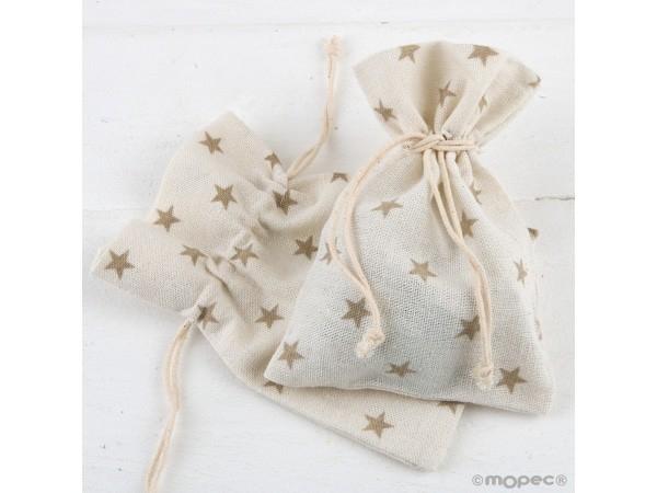 Bolsa algodón estrellas beige 10 x 14 cm