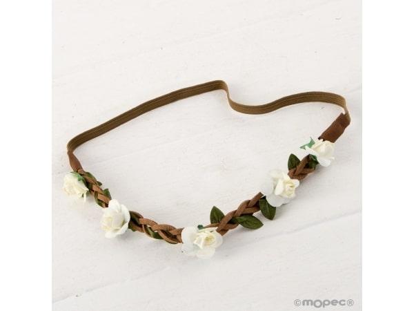 Diadema/corona flores marfil con elástico 23cm.