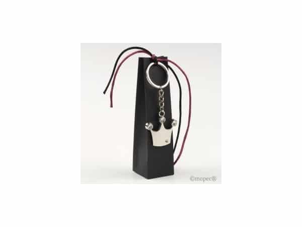 Llavero metal corona en caja negra con 2 chocolatinas