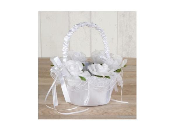 Cesta de arras con flores blancas 16 x 24 cm
