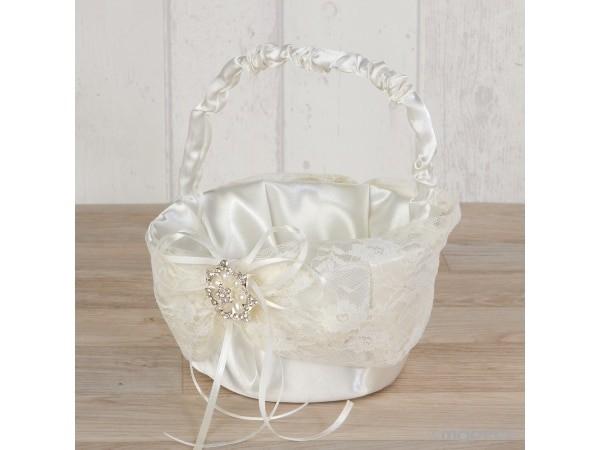 Cesta arras con blonda y broche flor de perlas 15 x 20 cm