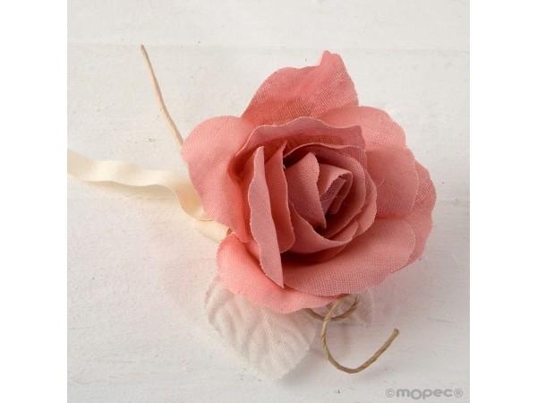 Flor de lino rosa 18 cm
