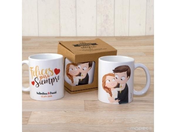 Taza cerámica novios Pop&Fun caricia con caja regalo