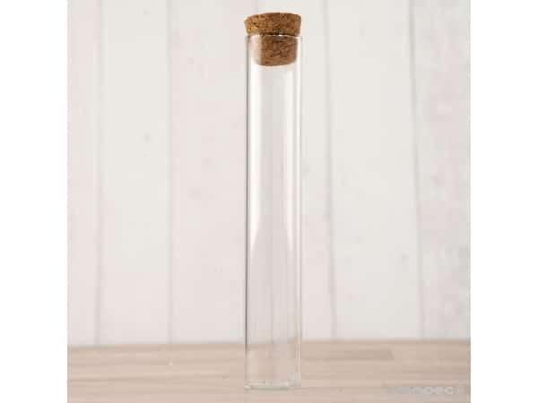 Tubo cristal transparente con tapón corcho 12,5 cm