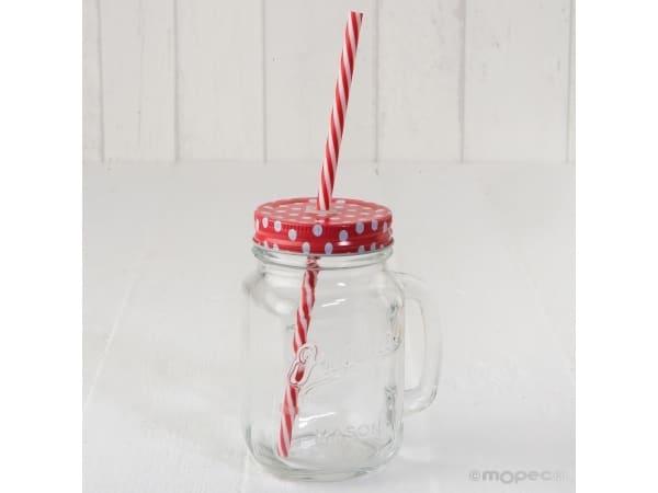Tarro cristal con asa tapa roja topos y caña 7x13cm