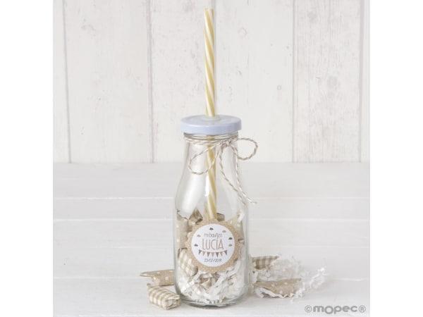Botellita cristal caña beige y viruta blanca + 12 caramelos