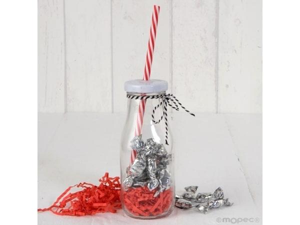 Botellita cristal caña roja y viruta blanca + 15 caramelos