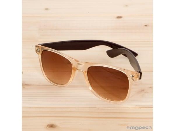 Gafas de sol semi-transparentes, patilla marrón lente marrón
