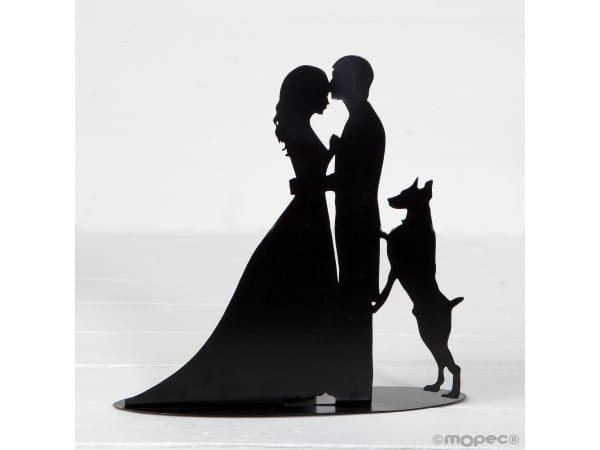 Figura/portavela pastel novios y perro, 19 cm