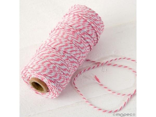 Cordón 12 hilosx100m trenzado algodón rosa/blanco
