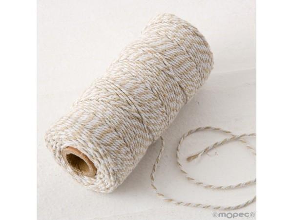 Cordón 12 hilosx100m trenzado algodón beige/blanco