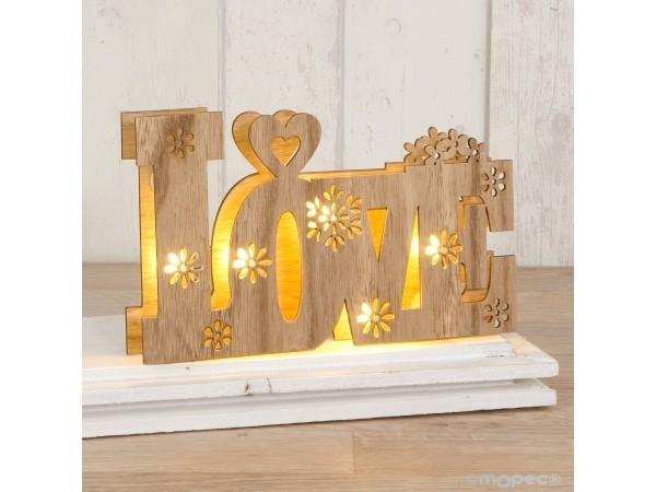 Decoración madera Love con luces led 21x13cm