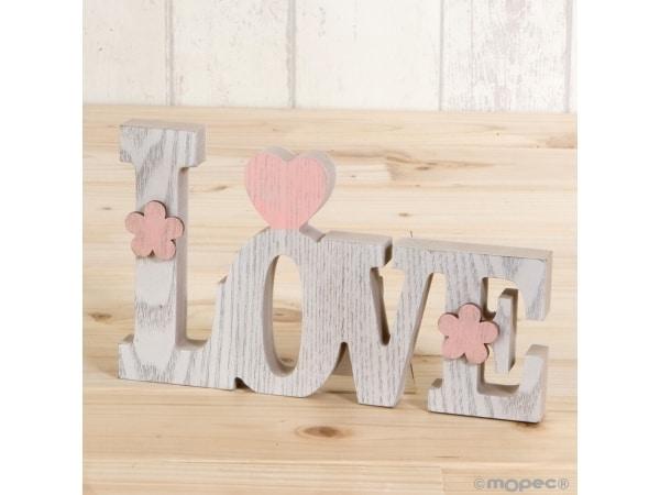 Decoración madera Love 20 cm