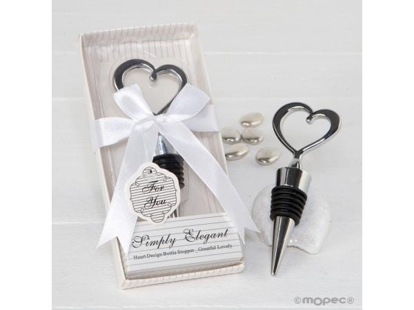 Tapón corazón para botellas en caja regalo con lazo