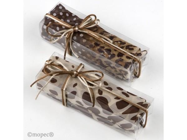 Foulard estampado animal marrón/beige en caja regalo