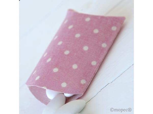 Estuche tela rosa topo blanco para peladillas