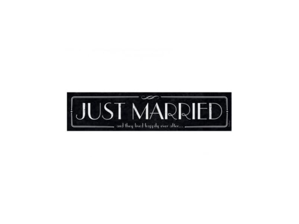 Cartel Photocall/ Matrícula para coche Just Married Vintage