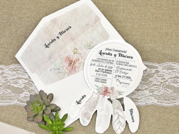 Invitación de boda atrapasueños