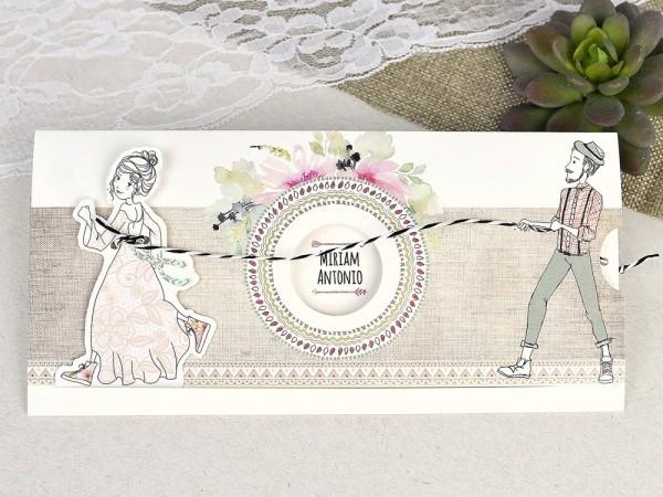 Invitación de boda novia a la fuga vintage
