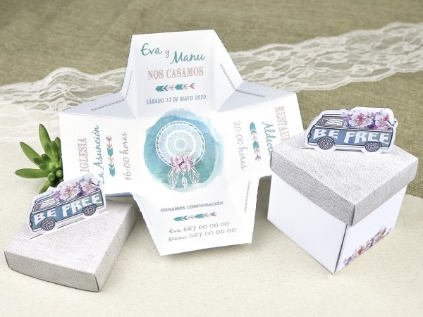 Invitación de boda caja