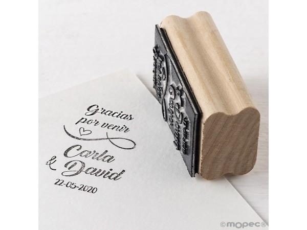 Detalle de boda sello personalizado Gracias por venir