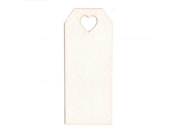 Tarjeta blanca agujero corazón 3x7cm
