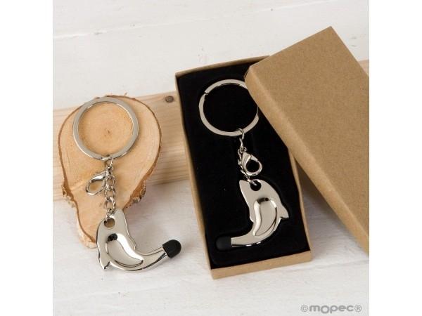 Llavero/colgante delfín con puntero táctil en caja regalo