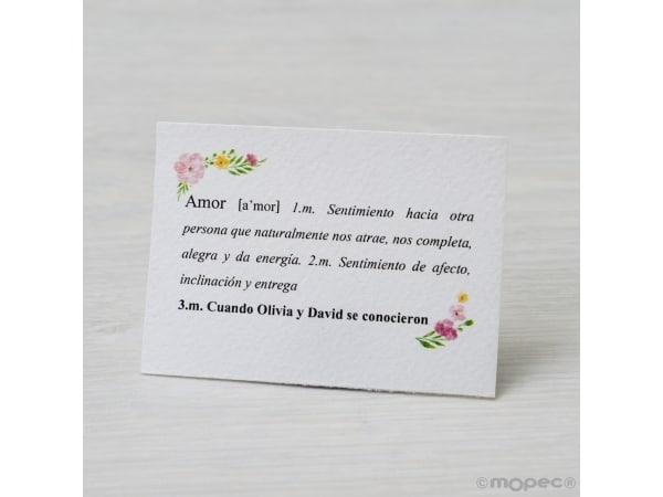 Tarjeta marcasitios def. Amor 7,5x5,5cm