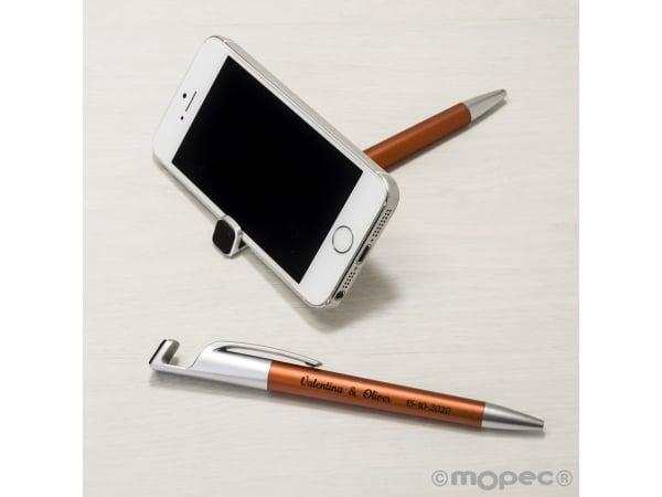 Bolígrafo-soporta móvil ocre con borra-huellas pantalla GRABADO