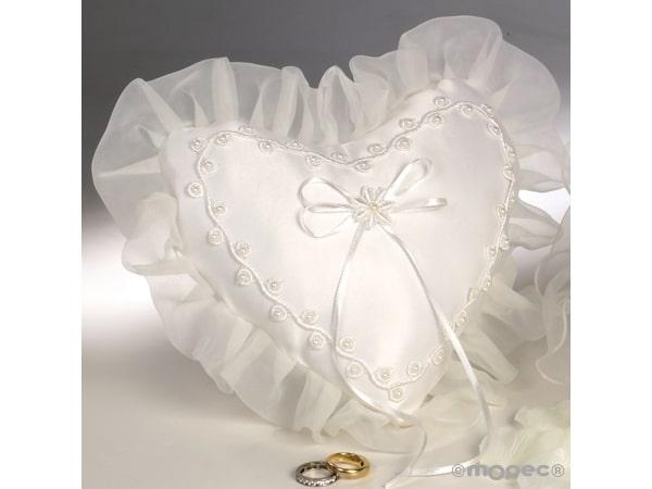 Cojín corazón alianzas guirnalda perlitas marfil 19x18cm