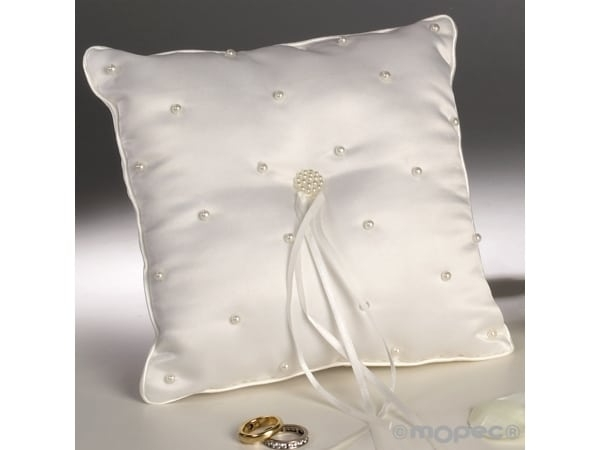 Cojín alianzas perlitas bordadas crudo 20x20cm