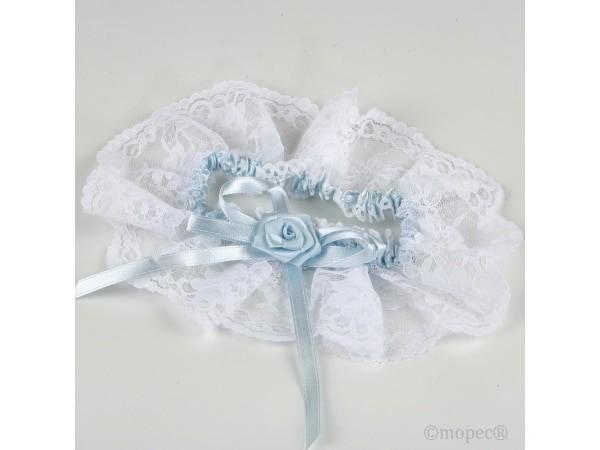 Liga punta blanca con raso azul claro