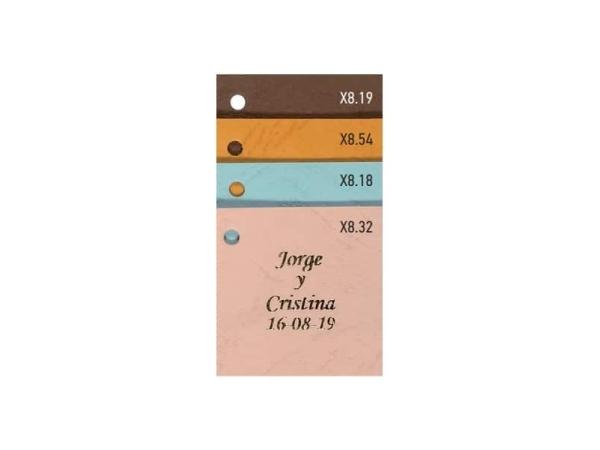 Tarjeta piel 4x4cm marrón (100 UNIDADES)