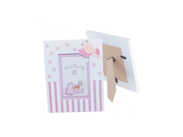Portafoto madera bebé rosa