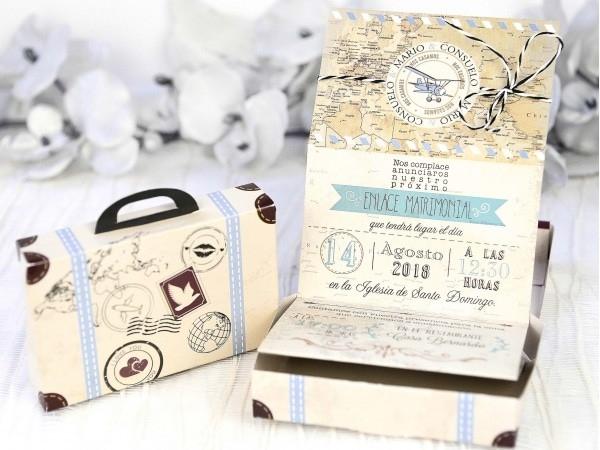 Invitación de boda maleta