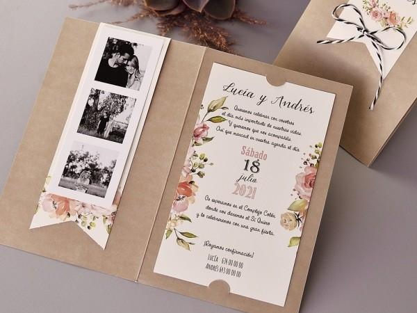 Invitacion de boda flores kraft