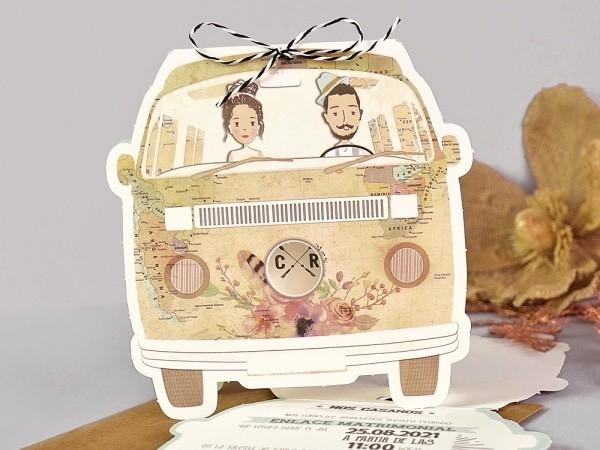 Invitacion de boda furgoneta kraft