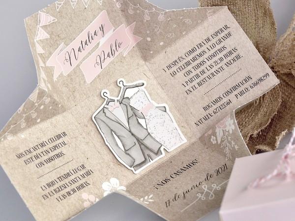 Invitacion de boda caja novios