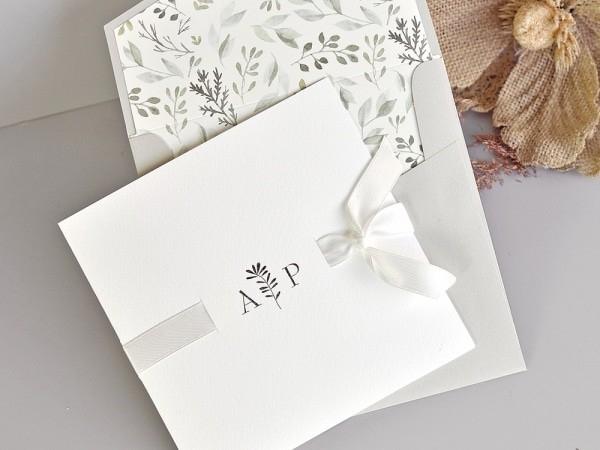 Invitacion de boda greenery