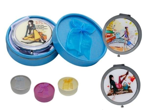 Espejo de metal redondo chicas + caja con lazo (8515)