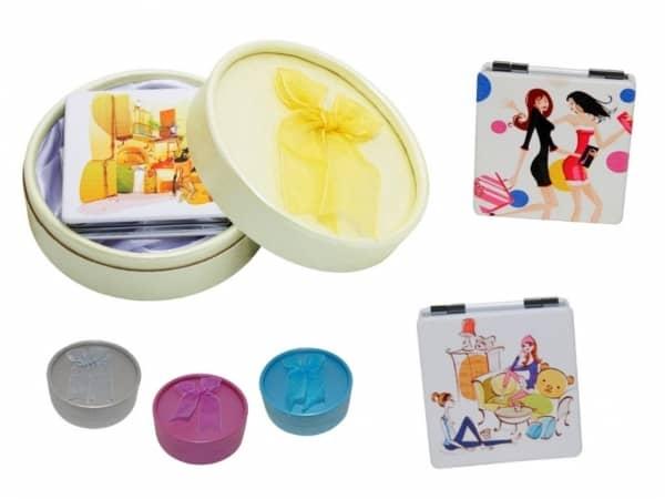 Espejo de piel cuadrado fashion + caja con lazo (8515)